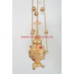 Cadelnita cizelata - aurita - pietre rosii