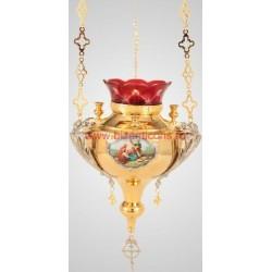Candela lant - 3 sfesnice - aurita si argintata