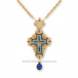 Cruce pectorala aurita - pietre albastre
