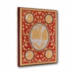 Evanghelie aurita si argintata - pietre albe - fond rosu