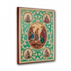 Evanghelie aurita - pietre rosii - fond verde - icoane