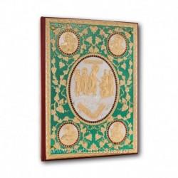 Evanghelie aurita si argintata - pietre rosii - fond verde