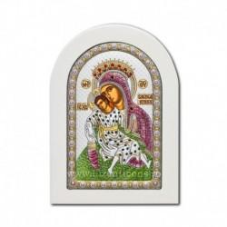 Icoana argintata - Maica Domnului Milostiva - Kykkiotisa 10x14 cm