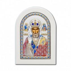 Icoana Ag925 lemn alb Sf Nicolae