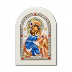 Icoana argintata - Maica Domnului din Vladimir 10x14 cm