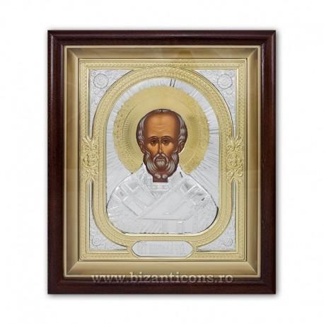 ICOANA rama aurita si argintata Sf Nicolae