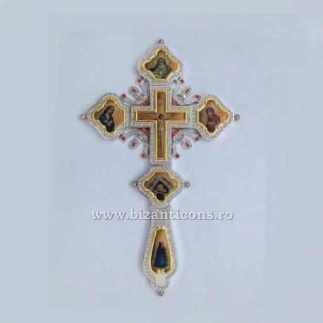Cruce Binecuvantare Argintie cu auriu - cu icoana