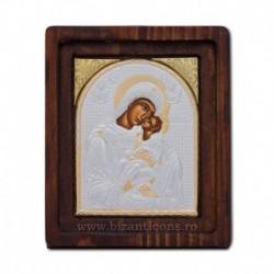 Icoana Ag925 Maica Domnului Dulcea Sarutare 11,5x14 cm