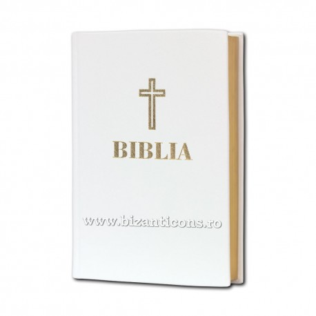 71-292 BIBLIA Centenar - 17x25 - PIELE ALBA cotor aurit - mare